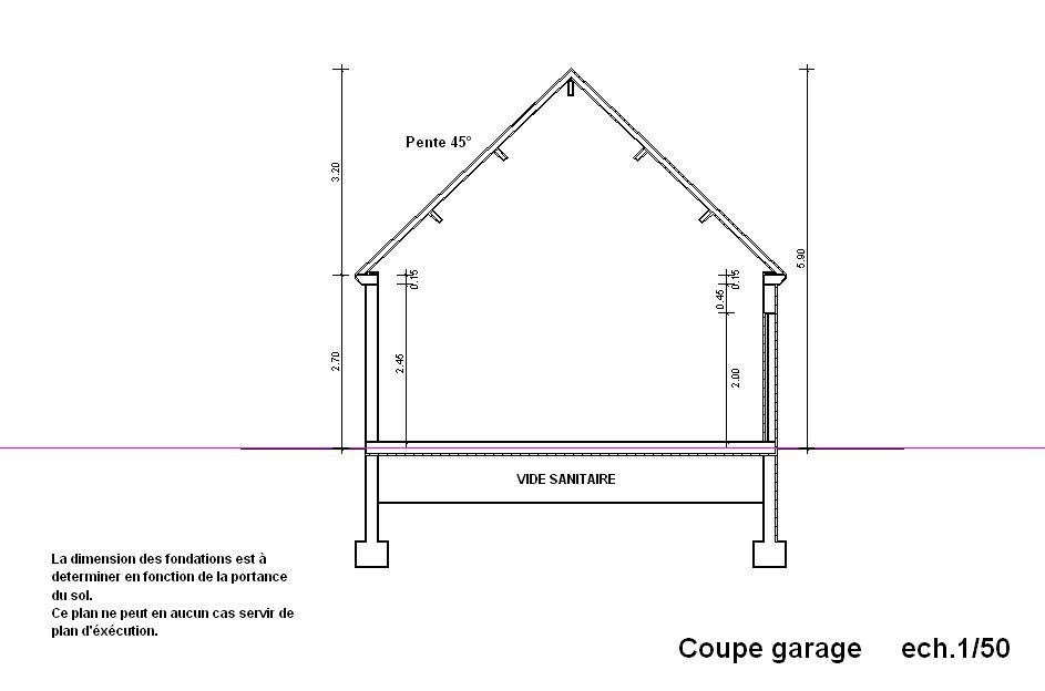 Vue en coupe du garage autoconstruction - Plan en coupe permis de construire ...